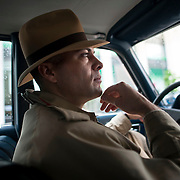 May 3, 2012 - Brooklyn, NY : Musician and composer Michael Arenella steers his 1982 Mercedes station wagon through traffic in Brooklyn on Thursday morning. CREDIT : Karsten Moran for The New York Times