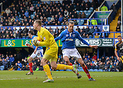 Portsmouth goalkeeper Ryan Fulton claims a cross during the Sky Bet League 2 match between Portsmouth and Cambridge United at Fratton Park, Portsmouth, England on 27 February 2016. Photo by Adam Rivers.