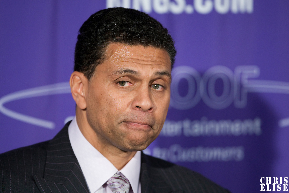 06 april 2008: Reggie Theus, head coach of the Sacramento Kings is seen during the press conference after the Los Angeles Lakers 114-92 victory over the Sacramento Kings, at the Arco Arena, in Sacramento, California, USA.