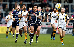 Denny Solomona of Sale Sharks leads the chase for the ball - Mandatory by-line: Robbie Stephenson/JMP - 19/02/2017 - RUGBY - AJ Bell Stadium - Sale, England - Sale Sharks v Wasps - Aviva Premiership