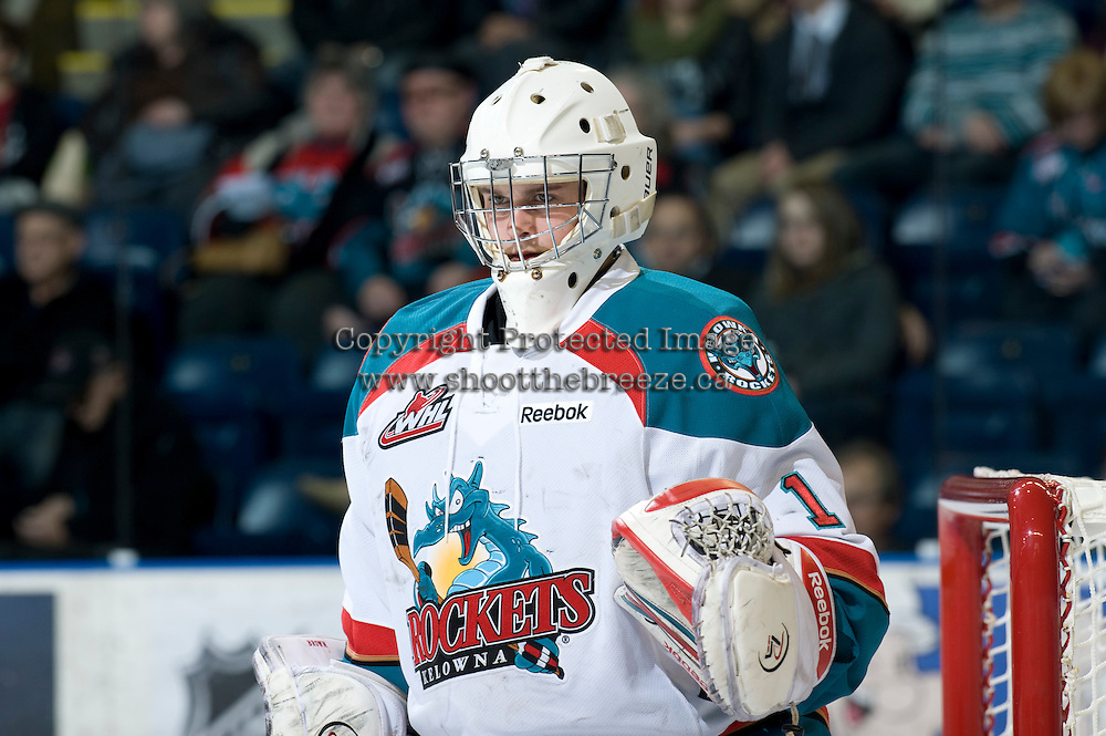 KELOWNA, CANADA, JANUARY 27: Adam Brown #1 of the Kelowna Rockets defends the net as the Seattle Thunderbirds visit the Kelowna Rockets on January 27, 2012 at Prospera Place in Kelowna, British Columbia, Canada (Photo by Marissa Baecker) *** Local Caption ***