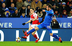 Ashley Hunter of Fleetwood Town takes on Christian Fuchs of Leicester City - Mandatory by-line: Robbie Stephenson/JMP - 16/01/2018 - FOOTBALL - King Power Stadium - Leicester, England - Leicester City v Fleetwood Town - Emirates FA Cup third round proper