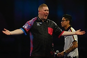 Ricky Evans celebrates winning a leg during the Darts World Championship 2018 at Alexandra Palace, London, United Kingdom on 18 December 2018.