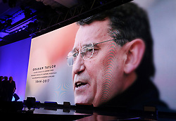 A tribute to Graham Taylor on the big screen during the Professional Footballers' Association Awards 2017 at the Grosvenor House Hotel, London