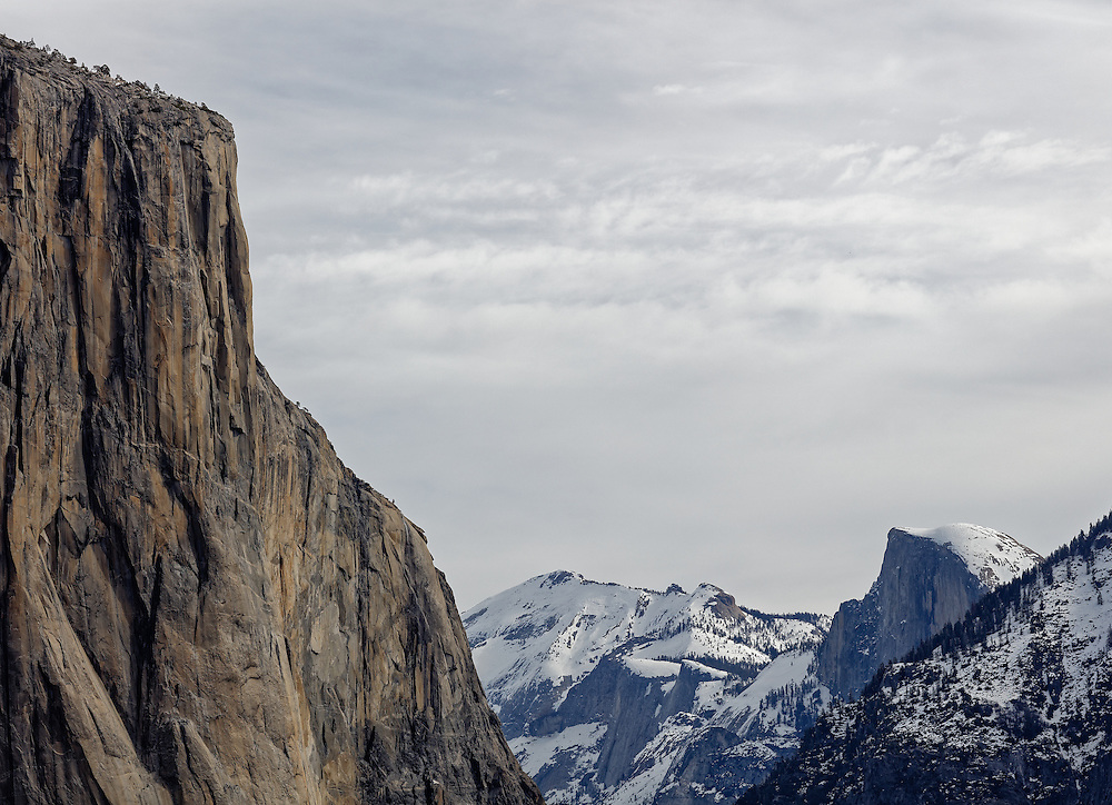 The infamous El Capitan in Yosemite National park as seen under the diffused light of a cloudy day in early February.