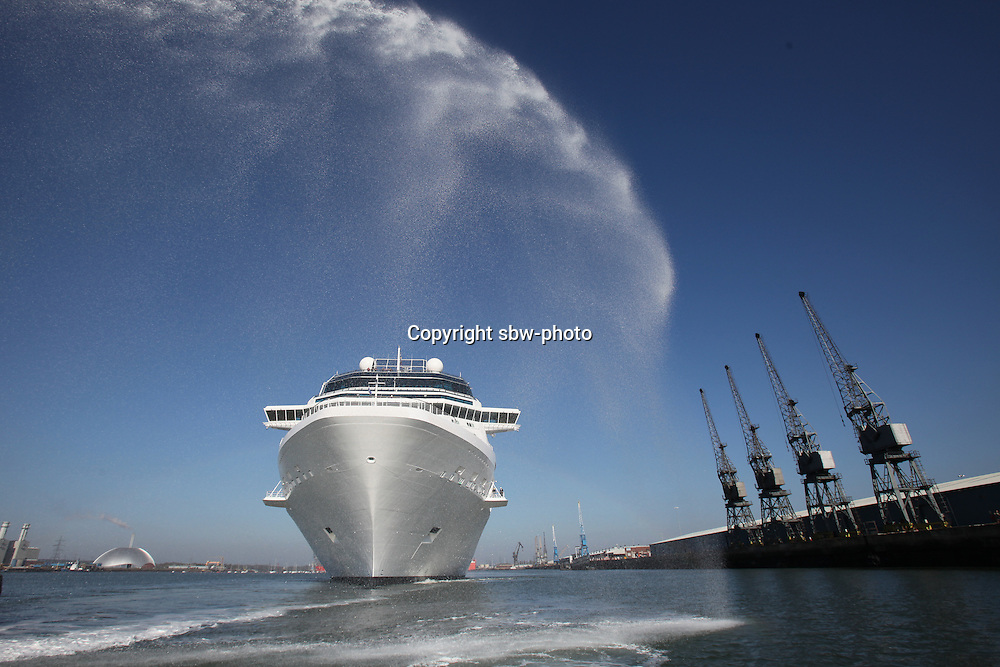 Celebrity Eclipse, the new cruise ship from Celebrity Cruises arrives in Southampton...