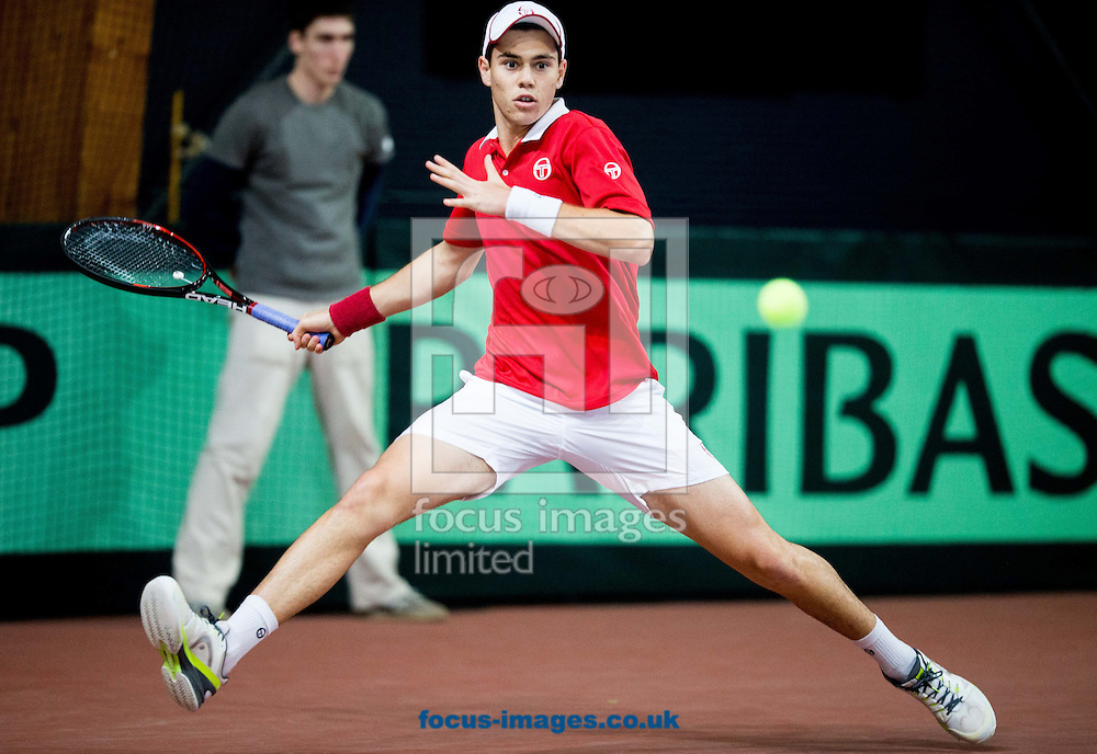 Lucas Catarina of Monaco during the first round Davis Cup match between Solvenia and Monaco  at Tennis Arena Tabor, Maribor, Slovenia.<br /> Picture by EXPA Pictures/Focus Images Ltd 07814482222<br /> 05/02/2017<br /> *** UK &amp; IRELAND ONLY ***<br /> <br /> EXPA-SLO-170205-0070.jpg
