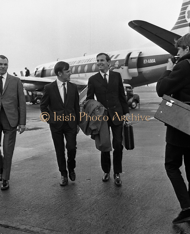 Heart transplant pioneer Dr Christian Barnard accompanied from the plane at Dublin airport by Dr John O'Connell, TD, editor of the Irish Medical Times, who had arranged for him to give a lecture on Cardiac Transplantation at the Royal College of Surgeons..11.11.1968