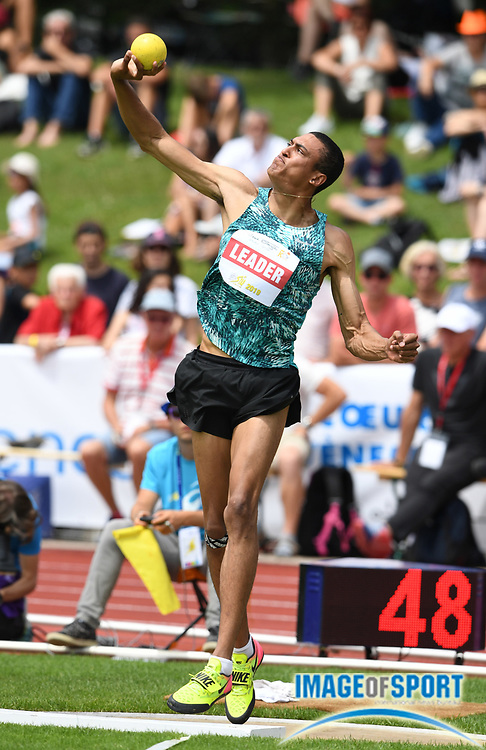 Pierce LePage (CAN) throws 46-7 1/2 (14.21m) in the shot put during the decathlon at the DecaStar meeting, Friday, June 22, 2019, in Talence, France. Piece won with 8, 453 points. (Jiro Mochizuki/Image of Sport)