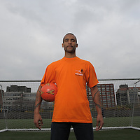 """Football-Clarke Carlisle Visits Street league Manchester-Manchester College-Pictures by Paul Currie-Clarke Carlisle goes back to school at the Manchester College, as part of his visit to the Charity, Street League soccer..Clarke joined academy participants in a session called """"Overcoming Barriers to employment"""" which addresses issues such as a lack of qualifications, Low self esteem health problems and convictions."""