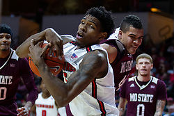 NORMAL, IL - January 07: Jaycee Hillsman struggles to keep the ball from Gaige Prim during a college basketball game between the ISU Redbirds and the University of Missouri State Bears on January 07 2020 at Redbird Arena in Normal, IL. (Photo by Alan Look)