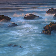 Crashing Waves Over Rocks - Sunset - Pescadero State Beach, CA