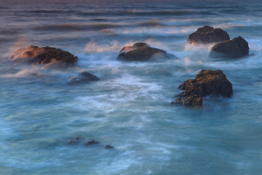 Crashing Waves Over Rocks - Sunset - Pescadero State Beach, CA