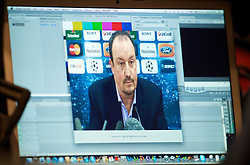 LIVERPOOL, ENGLAND - Tuesday, December 8, 2009: The image of Liverpool's manager Rafael Benitez on a television editor's laptop screen during a press conference at Anfield ahead of the UEFA Champions League Group E match against AFC Fiorentina. (Pic by David Rawcliffe/Propaganda)
