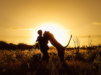 Valentin Gruener, Sirga, lioness, hand raised, kalahari, Botswana, Private Game Reserve, sunset