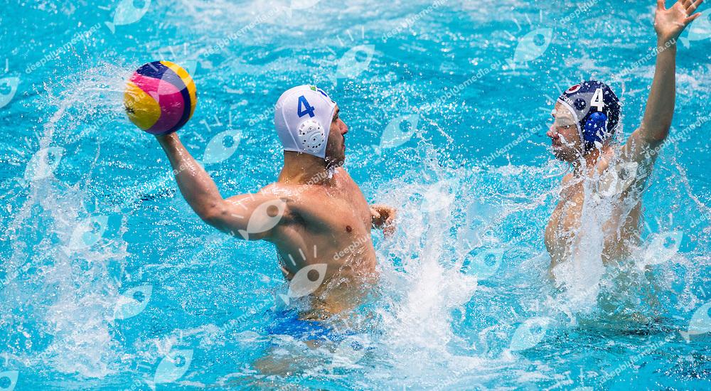 Eindhoven , Netherlands (NED) 16 - 29 January 2012.LEN European  Water Polo Championships 2012.Day 14 - Men.ITA (White) - HUN (Blue)..ITA.4 FIGLIOLI Pietro.HUN.4 VARGA Denes Andor..Photo G.Scala/Deepbluemedia.eu