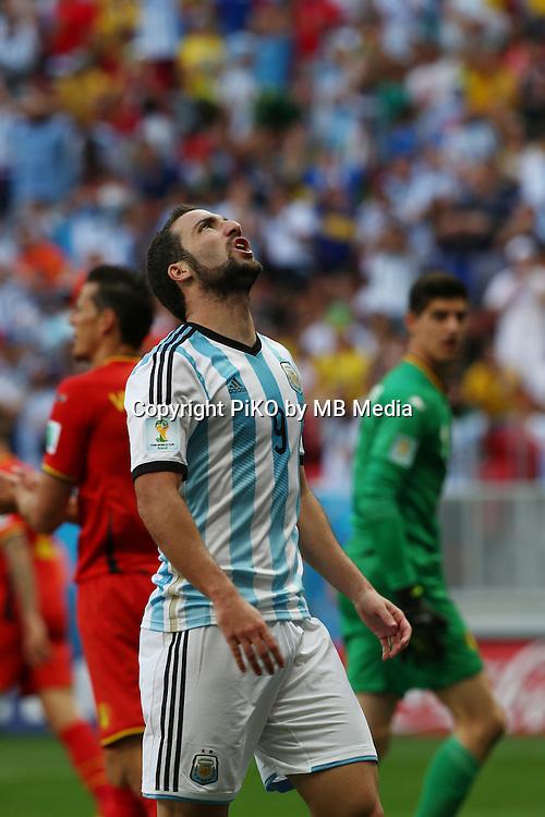 Fifa Soccer World Cup - Brazil 2014 - <br /> ARGENTINA (ARG) Vs. BELGIUM (BEL) - Quarter-finals - Estadio Nacional Brasilia -- Brazil (BRA) - 05 July 2014 <br /> Here  Argentine player Gonzalo Higuain (C)<br /> &copy; PikoPress