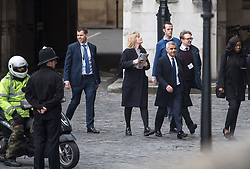 © Licensed to London News Pictures. 22/03/2018. London, UK. Mayor of London SADIQ KHAN seen entering the Houses of Parliament in Westminster, London on the one year anniversary of the Westminster Bridge Terror attack. A lone terrorist killed 5 people and injured several more, in an attack using a car and a knife. The attacker, 52-year-old Briton Khalid Masood, managed to gain entry to the grounds of the Houses of Parliament and killed police officer Keith Palmer. Photo credit: Ben Cawthra/LNP