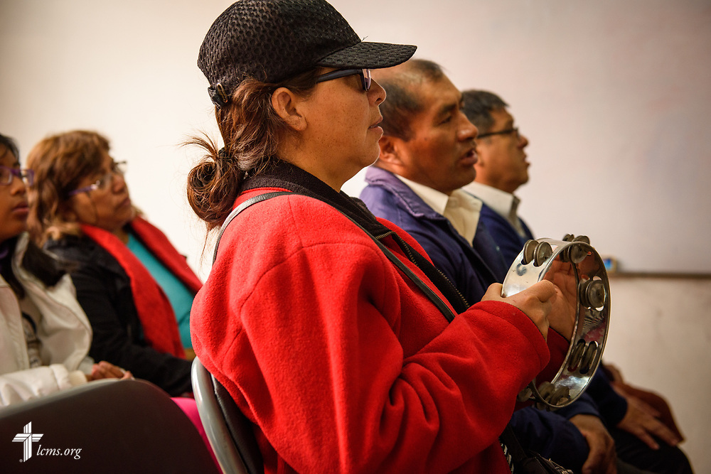 Worshippers gather at La Mision Luterana Del Peru at Los Olivos on Sunday, Nov. 5, 2017, in the Los Olivos area of Lima, Peru.  LCMS Communications/Erik M. Lunsford