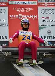 21.11.2014, Vogtland Arena, Klingenthal, GER, FIS Weltcup Ski Sprung, Klingenthal, Herren, HS 140, Qualifikation, im Bild Davide Bresadola (ITA) // during the mens HS 140 qualification of FIS Ski jumping World Cup at the Vogtland Arena in Klingenthal, Germany on 2014/11/21. EXPA Pictures © 2014, PhotoCredit: EXPA/ Eibner-Pressefoto/ Harzer<br /> <br /> *****ATTENTION - OUT of GER*****