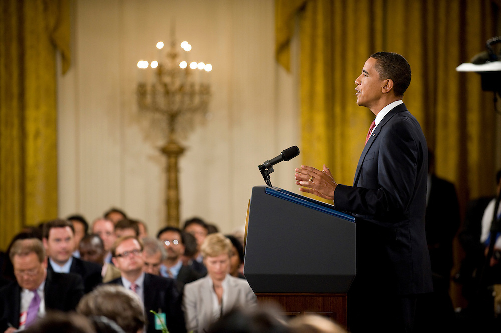 US President Barack Obama speaks at a press conference at the White House in Washington DC, USA on 22 July 2009.
