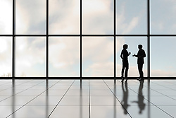 Profiles of two business people against a bank of windows in an office tower