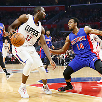 07 November 2016: Detroit Pistons guard Ish Smith (14) defends on Los Angeles Clippers forward Luc Mbah a Moute (12) during the LA Clippers 114-82 victory over the Detroit Pistons, at the Staples Center, Los Angeles, California, USA.