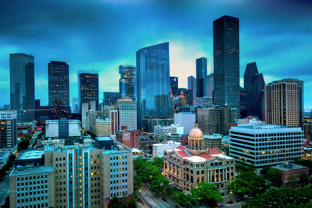 Historic Harris County Courthouse and downtown Houston.