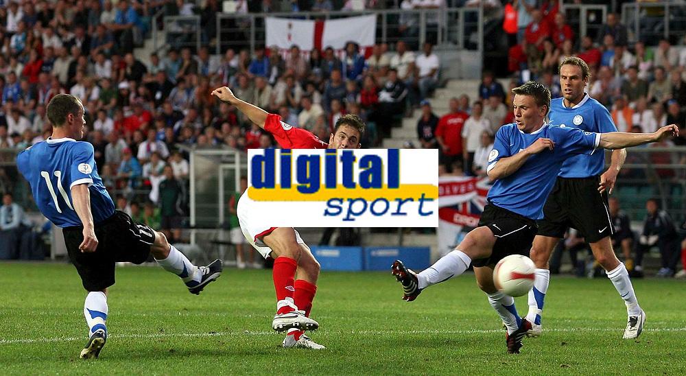 Photo: Paul Thomas.<br /> Estonia v England. UEFA European Championships Qualifying, Group E. 06/06/2007.<br /> <br /> Joe Cole of England scores.