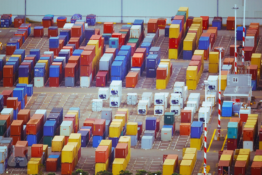 Shipping containers stacked at the container terminal of 'CentrePort Wellington', the main shipping and cargo gateway in Welllington, New Zealand.