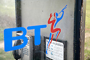 British Telecom rural phone box and BT logo