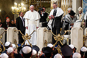 Rome jan 17th 2016, the pope meets the roman Synagogue. In the picture pope Francis and rabbi Riccardo Di Segni