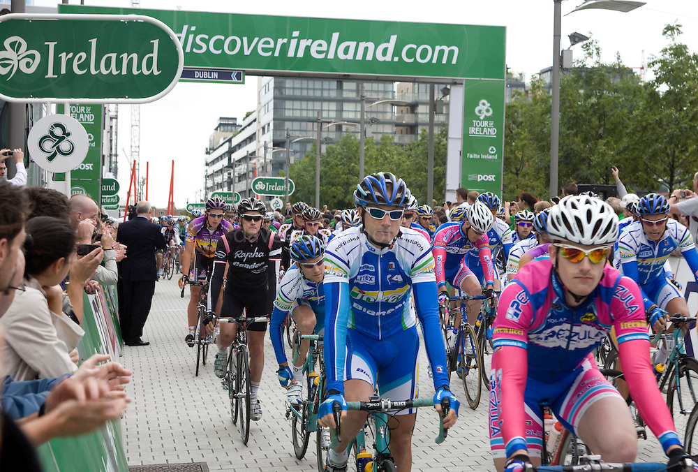 The start of the Tour of Ireland cycle race 2008, Grand Canal Square, Dublin 2. Irish rider Martyn Irvine, team Pezula, is on the right hand side of the photograph in pink and blue.