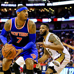 Mar 28, 2016; New Orleans, LA, USA; New York Knicks forward Carmelo Anthony (7) is defended by New Orleans Pelicans forward Alonzo Gee (15) during the second quarter of a game at the Smoothie King Center. Mandatory Credit: Derick E. Hingle-USA TODAY Sports