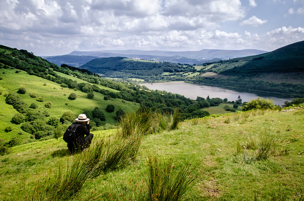 This scene is typical of the scenary in the Brecon Beacons in south Wales.