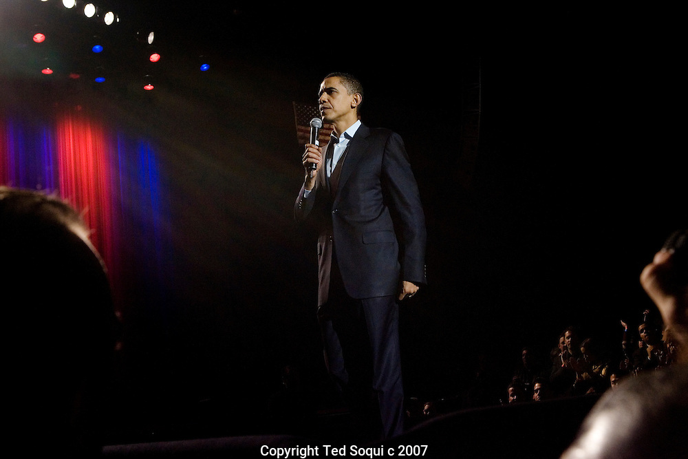 "Presidential candidate Barack Obama hosted a ""Los Angeles Generation Concert"" at the Gibson Amphitheater in Universal City, CA. The fundraiser was headlined by Ne-Yo and the Goo Goo Dolls. Obama gave a passionate speech to the crowd about why he wants to be President of the United States after the concert. He spoke of his mother's losing battle with cancer and insurance companies, and vowed to give every US citizen the same quality of health care he receives as a US Senator.."
