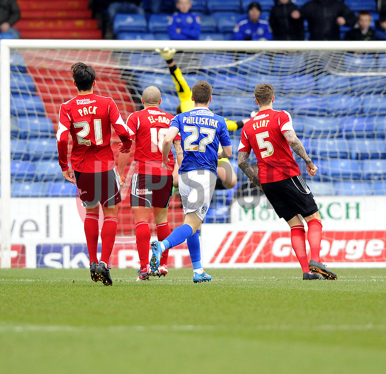Oldham Athletic's Daniel Philliskirk scores - Photo mandatory by-line: Joe Meredith/JMP - Tel: Mobile: 07966 386802 08/02/2014 - SPORT - FOOTBALL - Oldham - Boundary Park - Oldham Athletic v Bristol City - Sky Bet League One