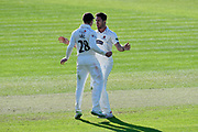 Wicket - Tim Groenewald of Somerset celebrates taking the wicket of Ben Cox of Worcestershire with Tom Abell of Somerset during the Specsavers County Champ Div 1 match between Somerset County Cricket Club and Worcestershire County Cricket Club at the Cooper Associates County Ground, Taunton, United Kingdom on 20 April 2018. Picture by Graham Hunt.