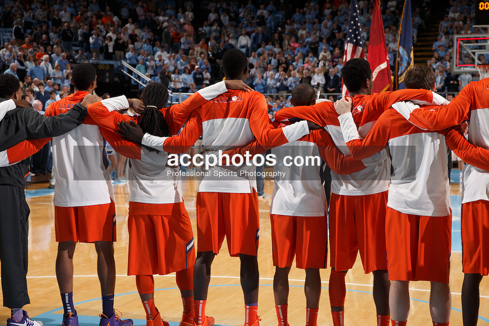 CHAPEL HILL, NC - JANUARY 26: Clemson Tigers embrace pre game before playing the North Carolina Tar Heels on January 26, 2014 at the Dean E. Smith Center in Chapel Hill, North Carolina. North Carolina won 61-80. (Photo by Peyton Williams/UNC/Getty Images)