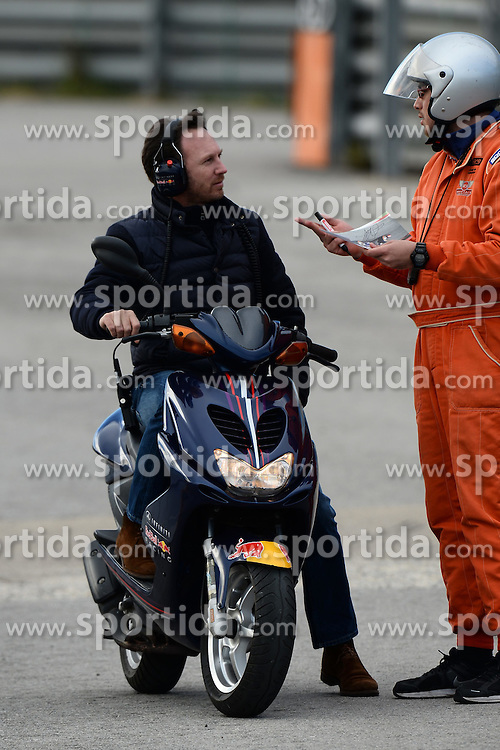 28.02.2015, Circuit de Catalunya, Barcelona, ESP, FIA, Formel 1, Testfahrten, Barcelona, Tag 3, im Bild Christian Horner (GBR) Red Bull Racing Team Principal on a moped // during the Formula One Testdrives, day three at the Circuit de Catalunya in Barcelona, Spain on 2015/02/28. EXPA Pictures &copy; 2015, PhotoCredit: EXPA/ Sutton Images/ Patrik Lundin Images<br /> <br /> *****ATTENTION - for AUT, SLO, CRO, SRB, BIH, MAZ only*****