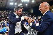 Gianmarco Pozzecco, Stefano Sardara<br /> Banco di Sardegna Dinamo Sassari - Umana Reyer Venezia<br /> Finale Zurich Connect Supercoppa LBA 2019<br /> Bari, 22/09/2019<br /> Foto L.Canu / Ciamillo-Castoria
