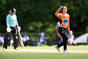 Fi Morris of Southern Vipers celebrates the wicket of Dane van Niekerk during the Women's Cricket Super League match between Southern Vipers and Surrey Stars at Arundel Castle, Arundel, United Kingdom on 18 August 2019.