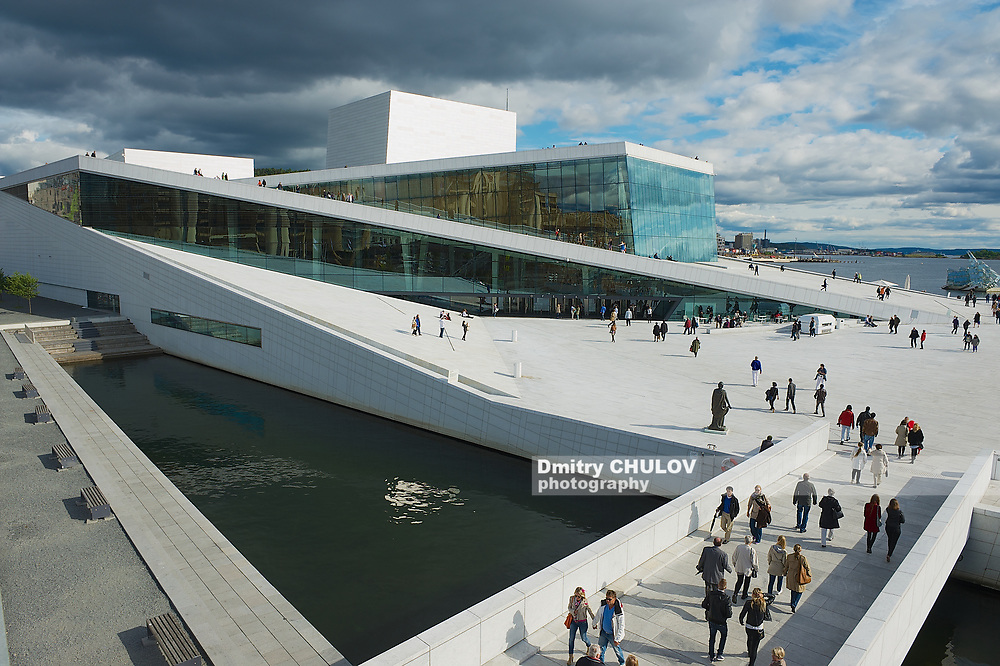OSLO, NORWAY - JUNE 03, 2012: View to the modern National Oslo Opera House building in Oslo, Norway.