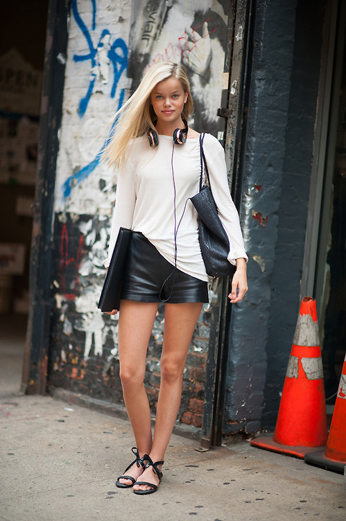 Model Frida Aasen in Leather Shorts