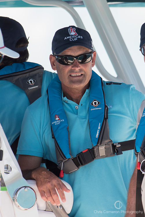 The Great Sound, Bermuda, 25th June 2017. Oracle Team USA CEO Sir Russel Coutts. Day four of racing in the America's Cup presented by Louis Vuitton.