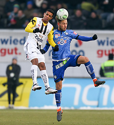03.03.2018, TGW Arena, Pasching, AUT, 1. FBL, LASK Linz vs SK Puntigamer Sturm Graz, 25. Runde, im Bild v.l. Joao Victor Santos Sa (LASK Linz), Lukas Spendlhofer (SK Puntigamer Sturm Graz) // during the Austrian Football Bundesliga 25th Round match between LASK Linz und SK Puntigamer Sturm Graz at the TGW Arena in Pasching, Austria on 2018/03/03. EXPA Pictures © 2018, PhotoCredit: EXPA/ Roland Hackl