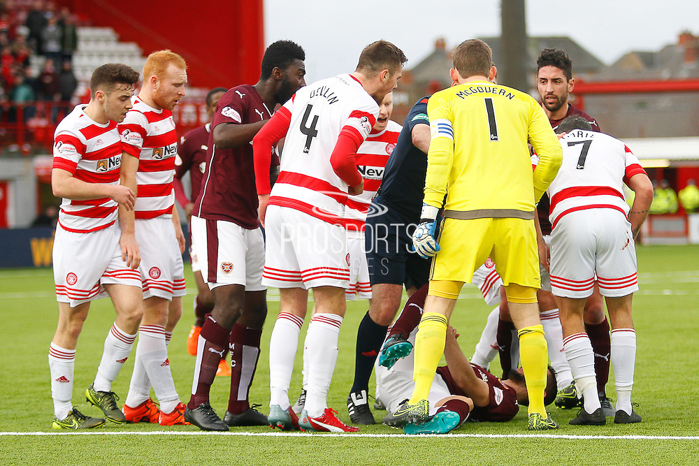 Heated arguments during the Ladbrokes Scottish Premiership match between Hamilton Academical FC and Heart of Midlothian at New Douglas Park, Hamilton, Scotland on 24 January 2016. Photo by Craig McAllister.