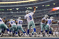06 November 2011: Quarterback (9) Tony Romo of the Dallas Cowboys passes the ball against the Seattle Seahawks during the first half of the Cowboys 23-13 victory over the Seahawks at Cowboy Stadium in Arlington, TX.
