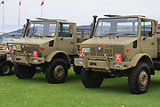Australian Army mercedes trucks from 41 transport group during 2007 ANZAC day parade in Hobart Tasmania
