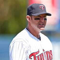March 13, 2011; Fort Myers, FL, USA; Minnesota Twins designated hitter Jim Thome (25) before a spring training exhibition game against the Philadelphia Phillies at Hammond Stadium.   Mandatory Credit: Derick E. Hingle